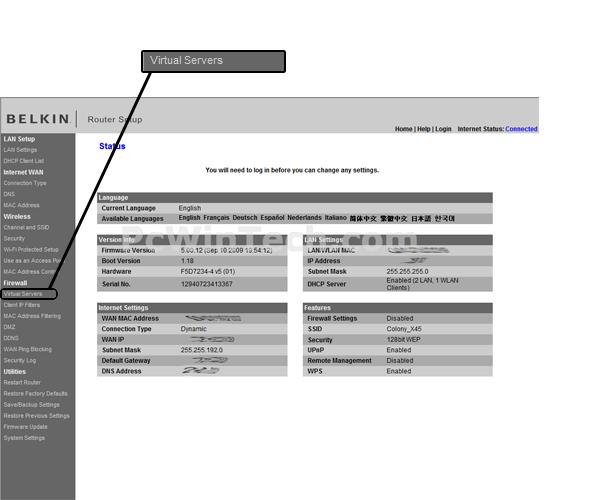 Port Forwarding Belkin F5D7234 4 v1 (Belkin Firmware