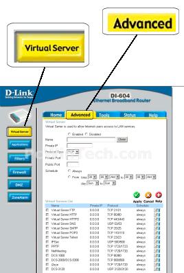 Port Forwarding - D-Link - DI-604 (D-Link Firmware) | PcWinTech com™