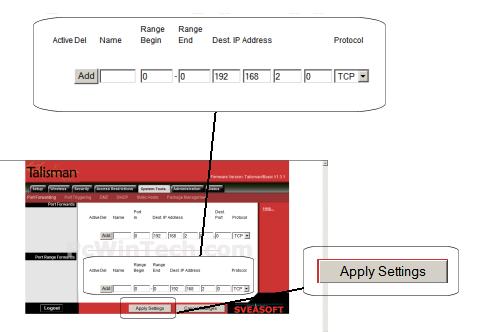 Port Forwarding - Linksys - WRT54G (Talisman Firmware