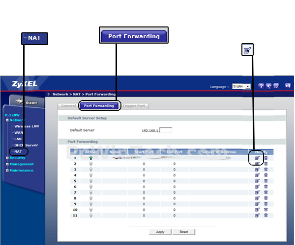 Port Forwarding - ZyXEL - P-320W (ZyXEL Firmware) | PcWinTech com™