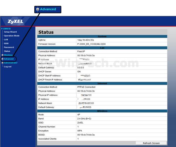Port Forwarding - ZyXEL - P-330W EE (ZyXEL Firmware) | PcWinTech com™