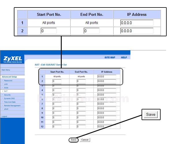 Port Forwarding - ZyXEL - P-660R-61C (ZyXEL Firmware