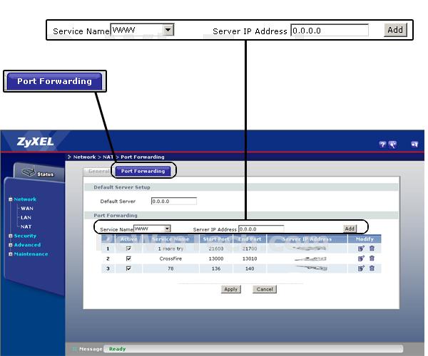 Port Forwarding - ZyXEL - P-660HW-D3 (ZyXEL Firmware