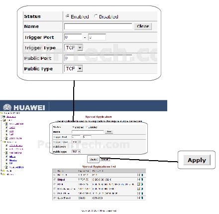 Port Triggering - Huawei - SmartAX MT880 v2 (Huawei Firmware