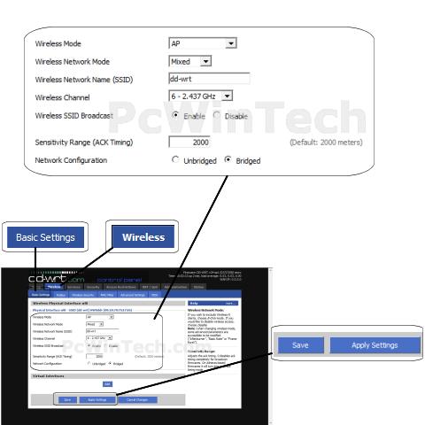 Wireless Setup - DD-WRT v24 (DD-WRT Firmware) | PcWinTech com™
