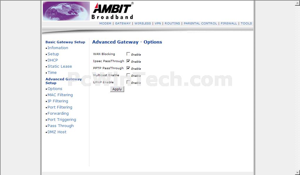 Ambit Cable modem manual